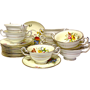 Set (9) Wedgwood Posey Sprays W3043 Cream Soup & Stands, Signed Holland