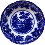 "Wm. Adams & Co. ""Fairy Villas"" Flow Blue Round Vegetable Bowl"
