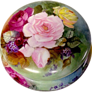 Signed, Dated 1897 French Hand Painted Lidded Dresser Box With Rose Blooms