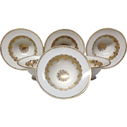 Set (6) Jean Pouyat Footed Gold & White Dessert or Fruit Bowls