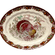 "Johnson Bros. Autumn Monarch Pattern 13"" Oval Platter, Turkey"