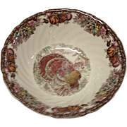 Johnson Bros. Autumn Monarch Pattern Round Vegetable Serving Bowl, Turkey