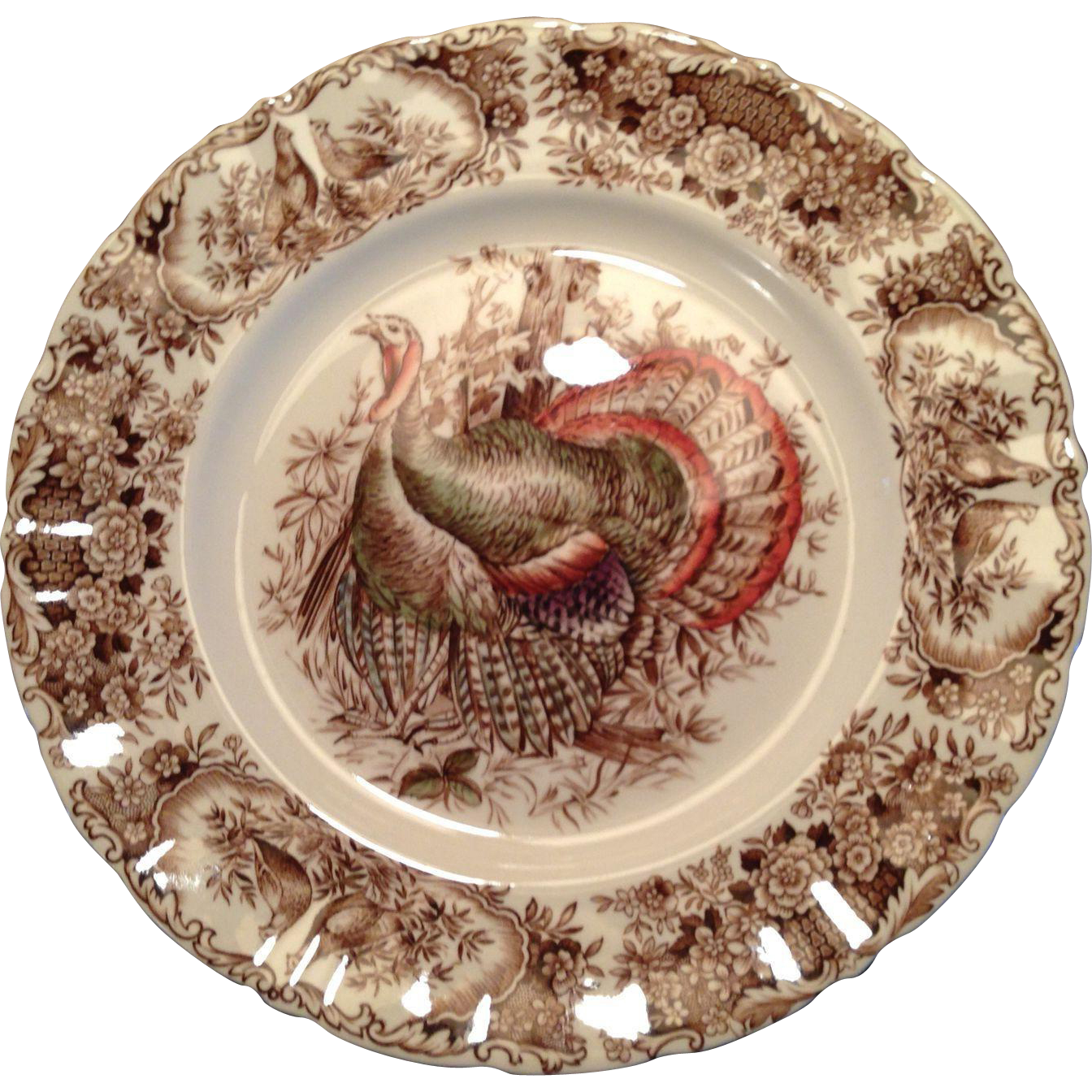 Johnson Bros. Wild Turkeys Brown, Native American Dinner Plate