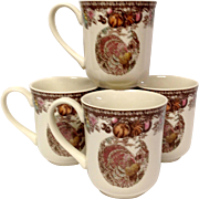 Johnson Bros. Autumn Monarch Pattern Set (4) Mugs, Turkey