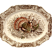"Johnson Bros. Wild Turkeys Brown, Native American 17"" Platter"