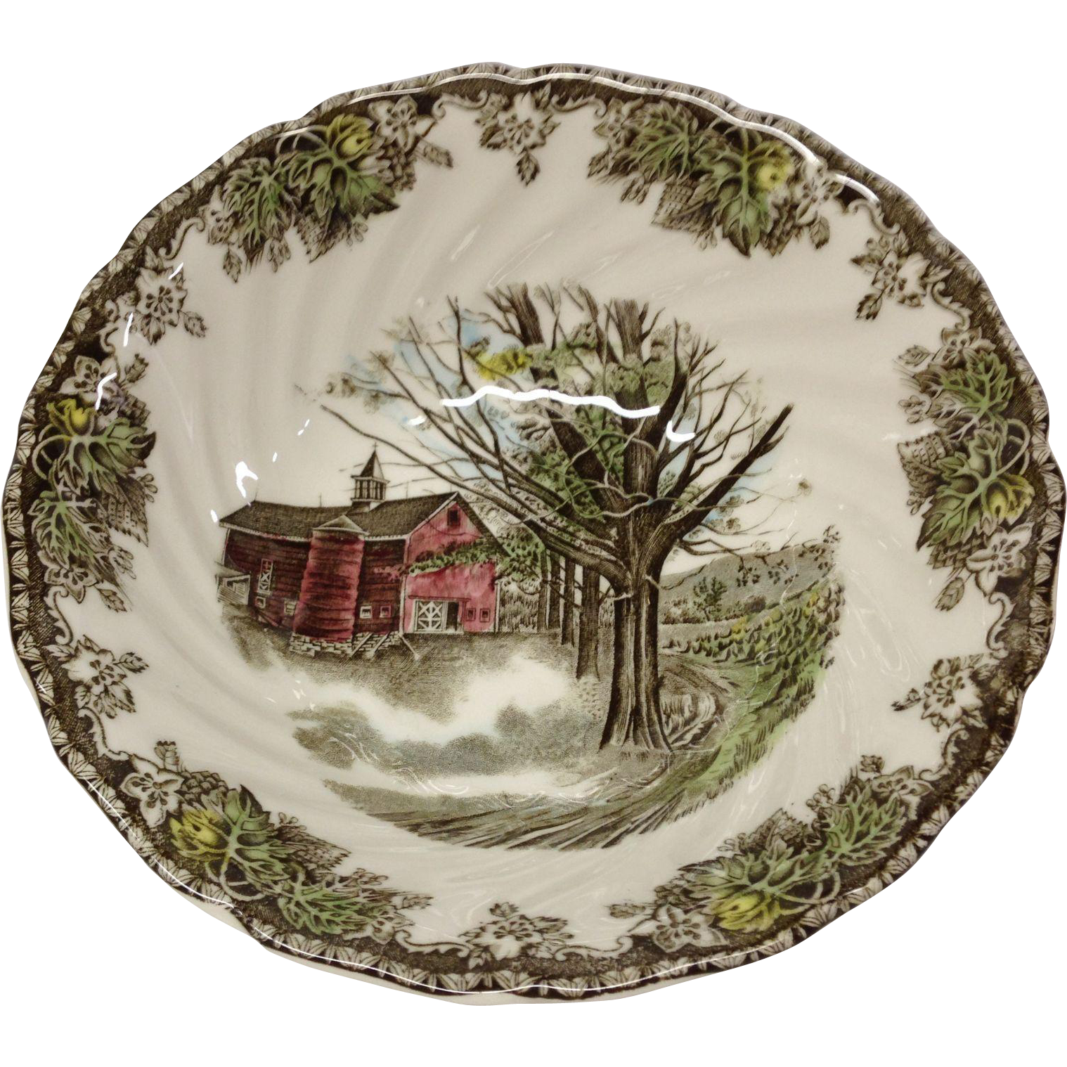 "Johnson Bros. Vintage Friendly Village ""Autumn Mists"" Round Vegetable"