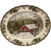 "Johnson Bros. Vintage Friendly Village ""The Covered Bridge"" Oval Platter"