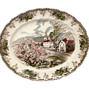 "Johnson Bros. Vintage Friendly Village ""Village Green"" Small Oval Platter"