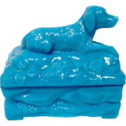 Portieux Vallerysthal (P V) Blue Opaline Covered Box with Seated Hunting Dog