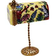 Signed Limoges Hand Painted Mailbox with Letter Trinket Box