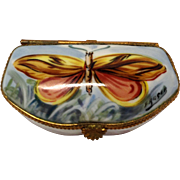 Gorgeous Vintage Hand Painted Limoges Signed Moth Trinket Box