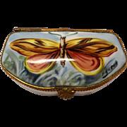 Gorgeous Vintage Hand Painted Limoges Signed Moth Trinket Box - Red Tag Sale Item