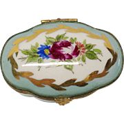 Limoges Hand Painted Blue Trinket Box, D C Diamond Mark