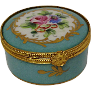 Limoges France Blue Foral Trinket Box