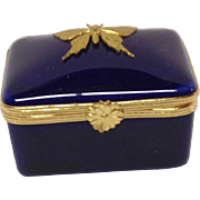 Cobalt Blue Limoges Trinket Box Butterfly