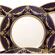 Stunning Set (12) Lenox Cobalt and Raised Gold Encrusted Service Plates