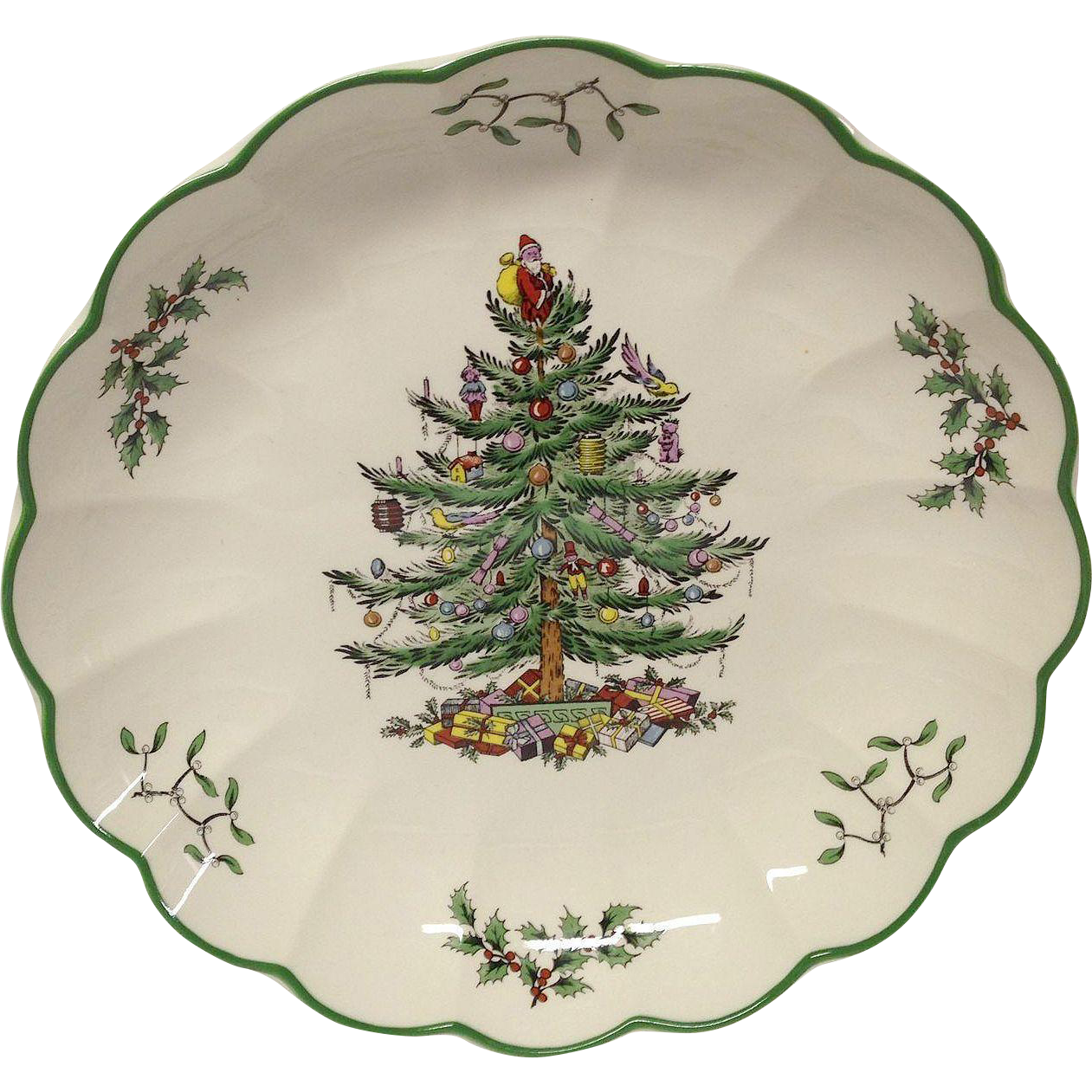"Spode Christmas Tree 8 3/8"" Ruffled Serving Bowl, England"