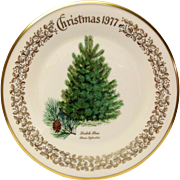 Lenox Christmas Tree Scotch Pine Commemorative Plate 1977