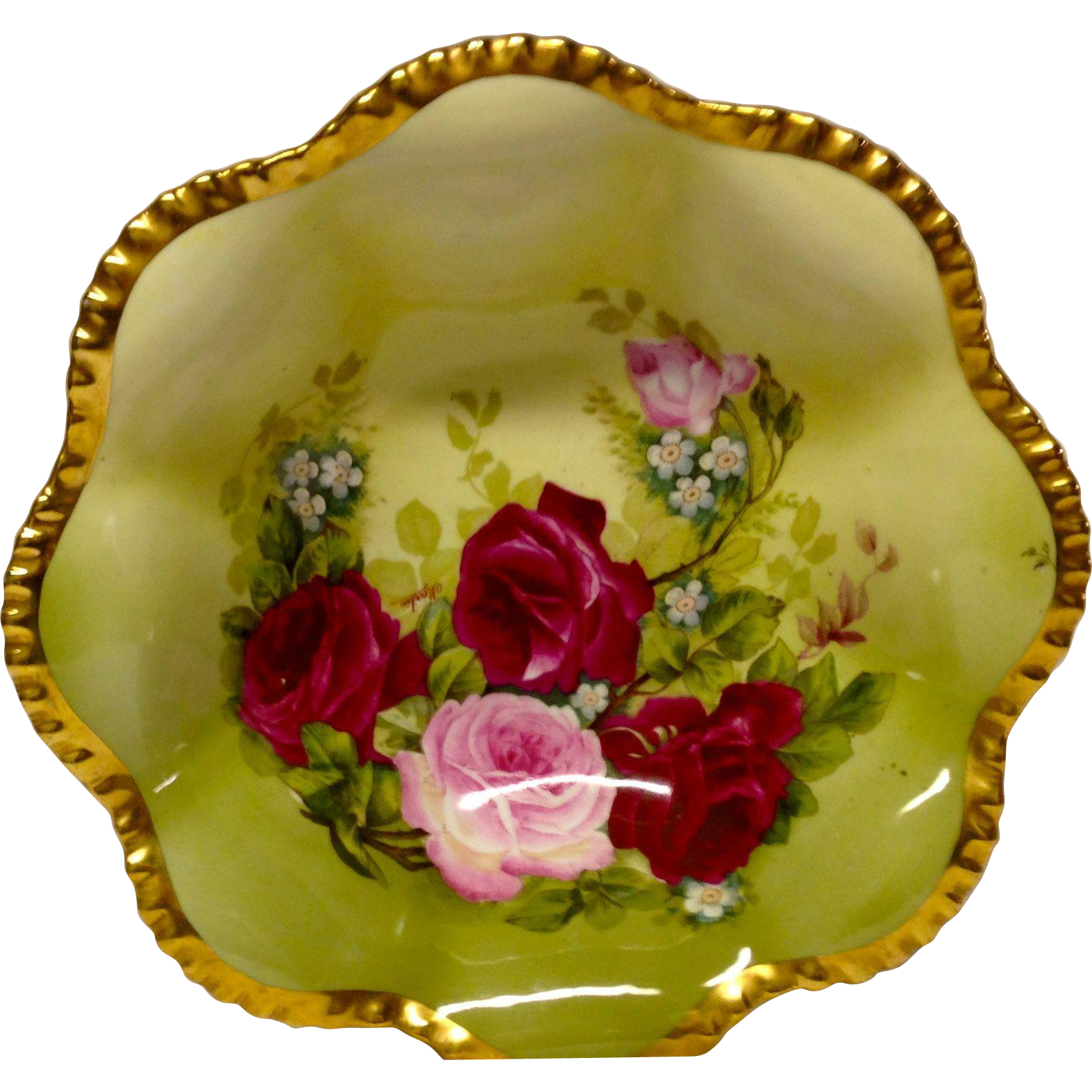 "Stunning Royal Austria ""Rose Pompadour"" Artist Signed Bowl, Pink, Red Roses"