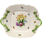 Stunning Herend Printemps Handled Square Cake Plate