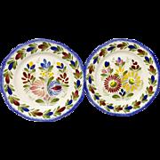 Pair HB Henroit France Fleuri Royal Quimper Salad Plates