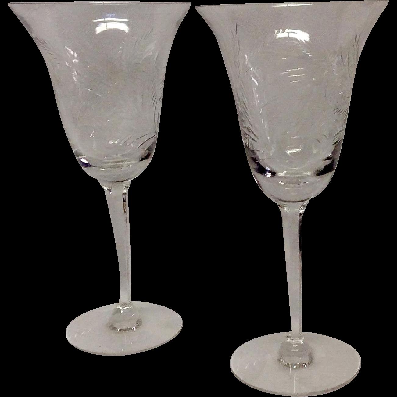Set (3) Tiffin Crystal Mystic Water Goblets