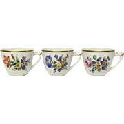 Set (3) Bing & Grondahl Saxon Flowers White Cups