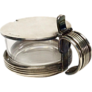 Lidded Christofle Silver Plated and Glass Jam Server