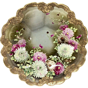 Stunning Hand Painted  Chrysanthemums Gilded Fruit Bowl