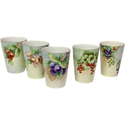 Set (5) Handpainted William Guerin Limoges Porcelain Tumblers