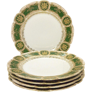 Set (5) Unusual Martial Redon Limoges Gold Encrusted Buckeyes Salad Plates
