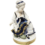 Charming Unterweissbach Girl, Goat, Grape Garland Figurine