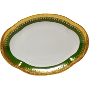Charles Field Haviland Green & Gold Encrusted Large Oval Platter