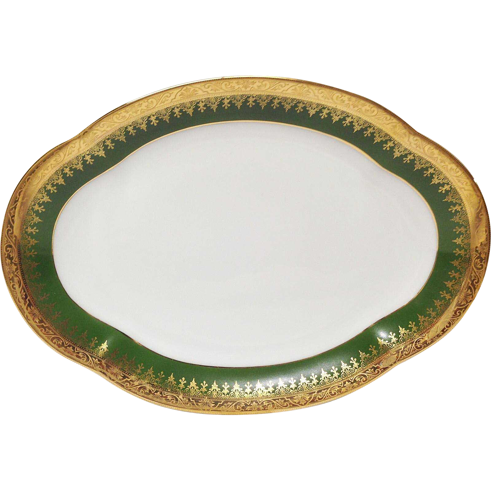 Charles Field Haviland Green & Gold Encrusted Oval Vegetable Bowl
