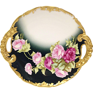 Limoges Gorgeous Cake Plate Pink Red Roses Signed French Artist Rousset