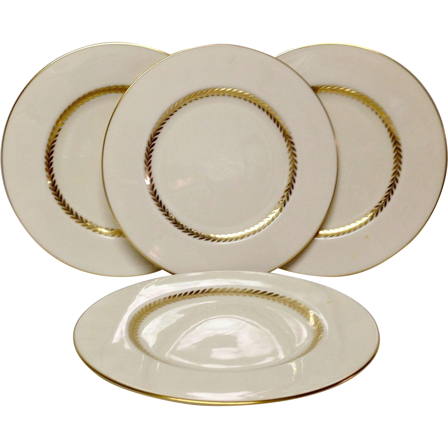 """Set (4) Lovely Lenox Imperial P338 9 1/4"""" Luncheon Plates"""