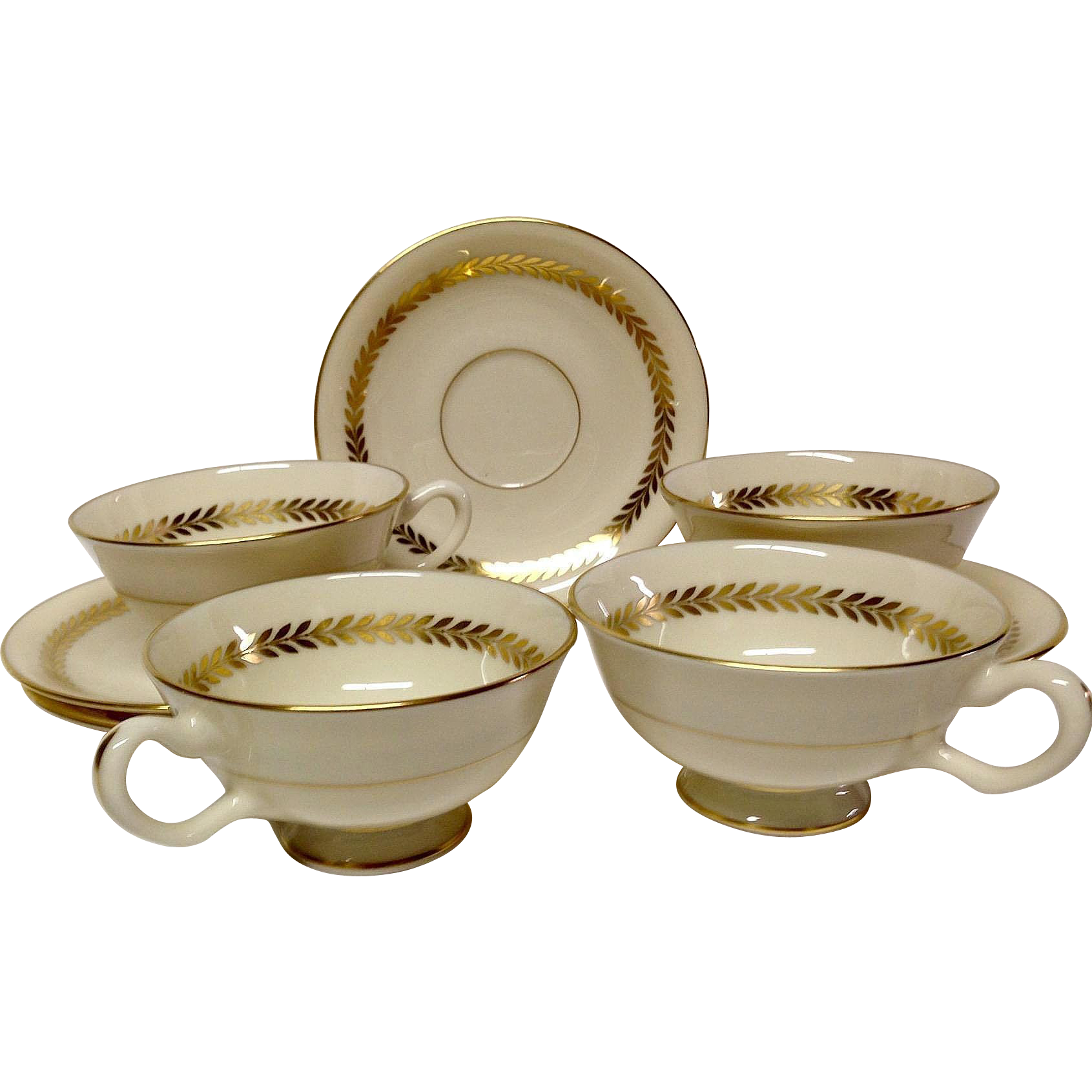 Set (4) Lenox Imperial P338 Cup & Saucer Sets