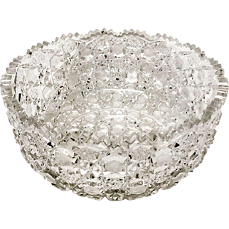 Superb Harvard Pattern American Brilliant Period ABP Glass Large Serving Bowl