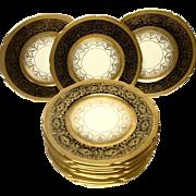 Set (12) Edgerton Pickard Gold Encrusted & Enameled Service Plates