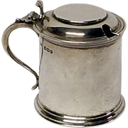 Charming Wiiliam Adams Sheffield Sterling Miniature Tankard Mustard Pot
