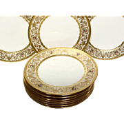 Exceptional Set (12) Cauldon Reizenstein Raised Gold & Hand Painted Service Plates