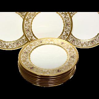 Exceptional Set (12) Cauldon Reizenstein Raised Gold & Hand Painted Service Plates