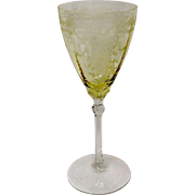 Fostoria Crystal June Topaz Yellow water Goblet