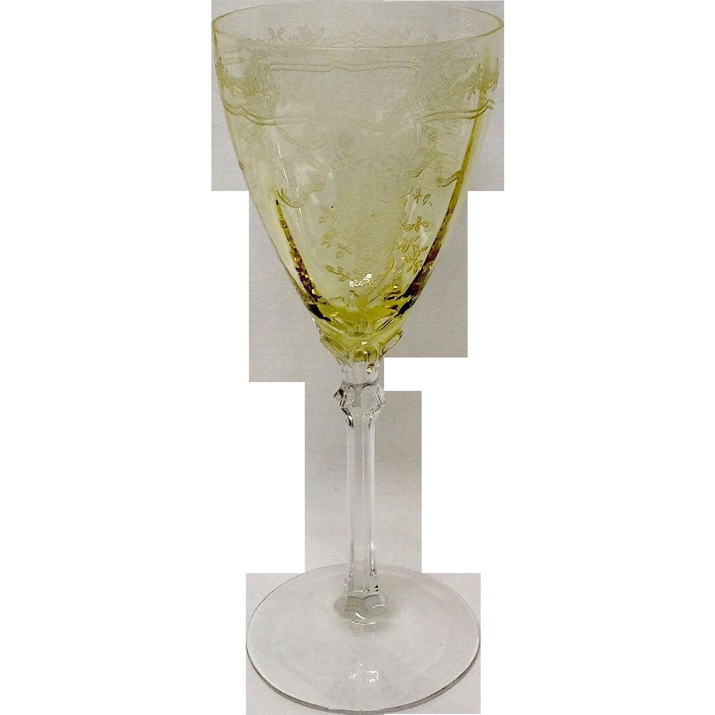 Fostoria Crystal June Topaz Yellow water Goblet
