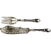 Stunning J.S. Vancourt Antique Coin Silver Pierced & Engraved Fish Serving Set