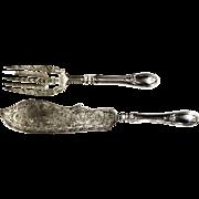 Stunning J.S. Vancourt Antique Coin Silver Pierced & Engraved Fish Serving Set
