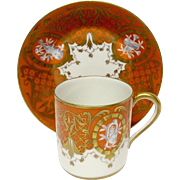 Stunning Atelier Le Tallec Unusual Burnt Orange Demitasse Cup & Saucer