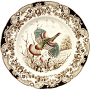 Johnson Bros. Wild Turkeys Flying Brown Dinner Plate