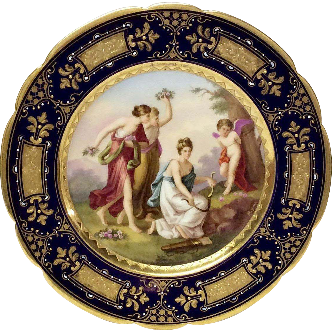 """Royal Vienna Signed Wagner Portrait Plate """"Revenge of the Graces"""" Beehive Mark"""