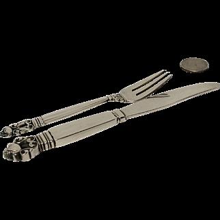 Georg Jensen Acorn Sterling Child Knife & Fork Set 1910-1925 Mark